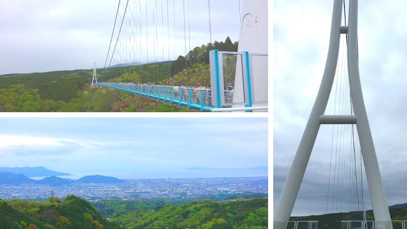 画像:日本最長の吊り橋 三島スカイウォークとそこから見える沼津三島方面の光景