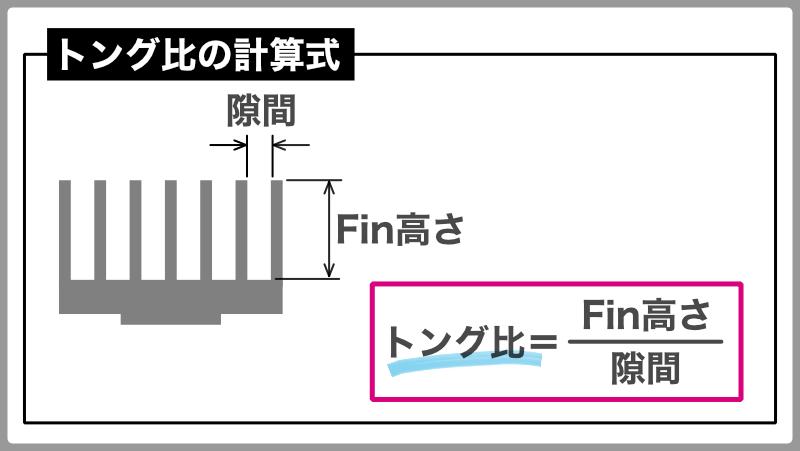 アルミ押し出しヒートシンクの設計ポイント:トング比計算式